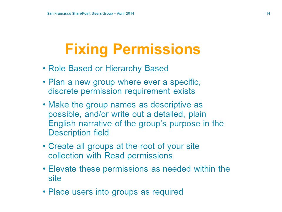 Fixing Permissions Role Based or Hierarchy Based