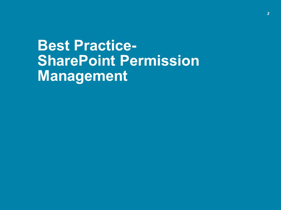 Best Practice- SharePoint Permission Management