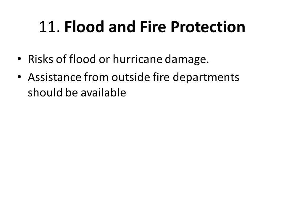 11. Flood and Fire Protection