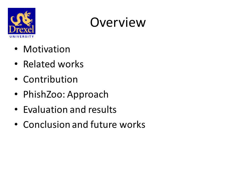 Overview Motivation Related works Contribution PhishZoo: Approach
