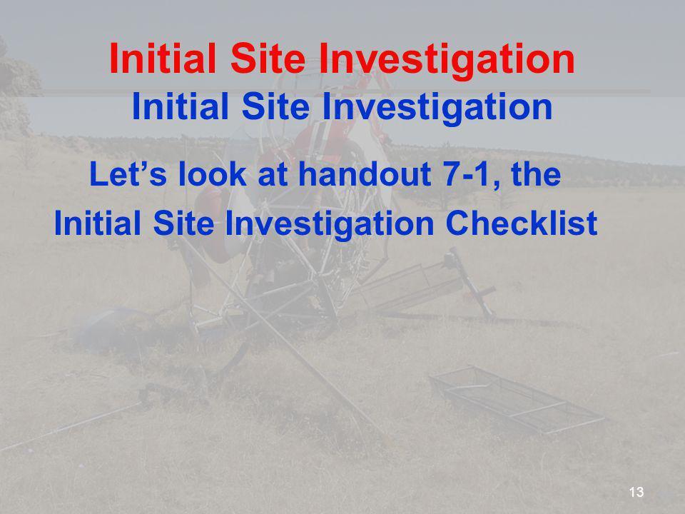 Initial Site Investigation Initial Site Investigation