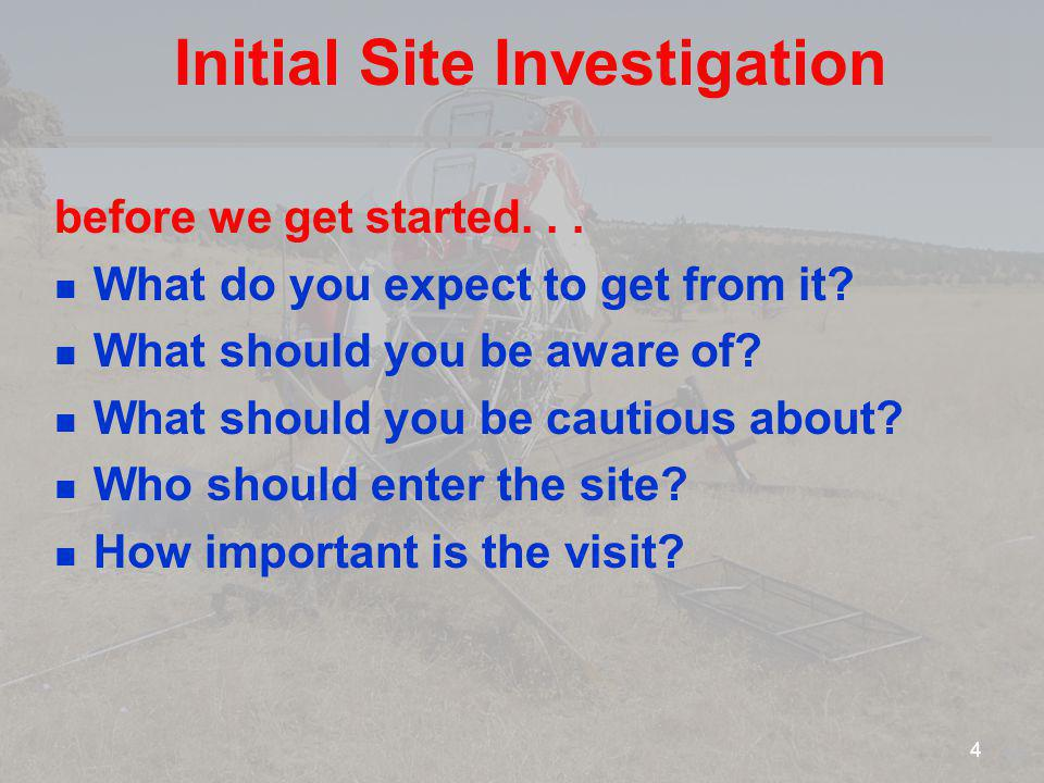 Initial Site Investigation