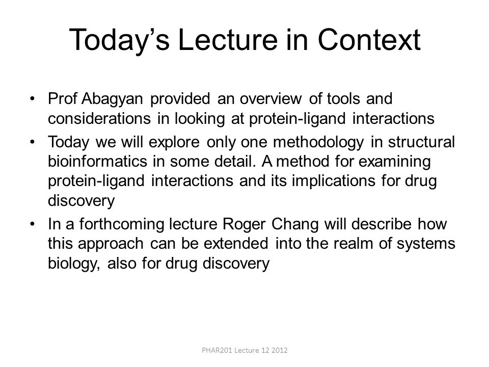 Today's Lecture in Context