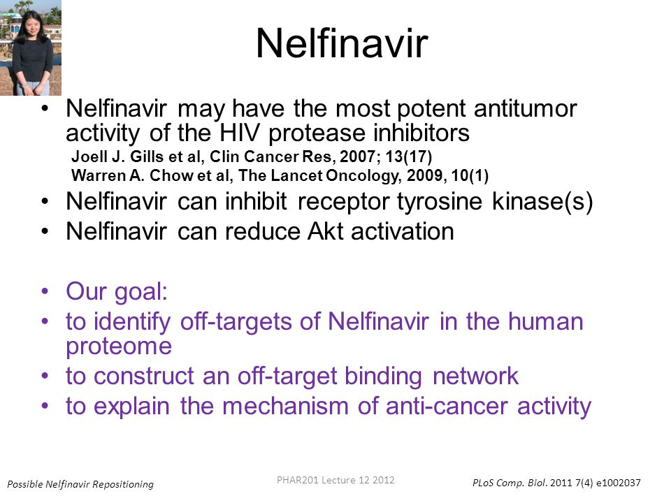 Nelfinavir Nelfinavir may have the most potent antitumor activity of the HIV protease inhibitors.