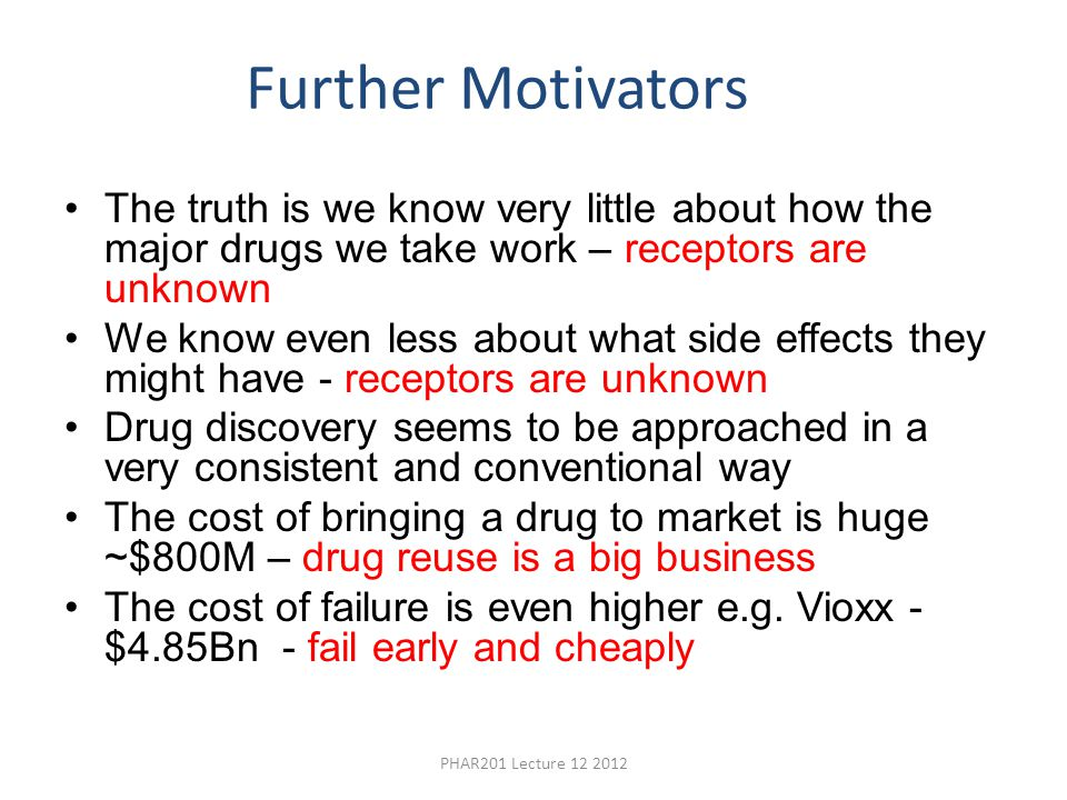 Further Motivators The truth is we know very little about how the major drugs we take work – receptors are unknown.