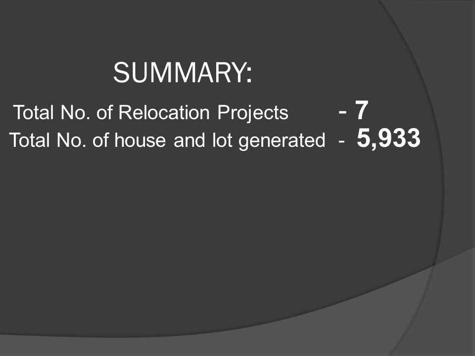 SUMMARY: Total No. of Relocation Projects - 7
