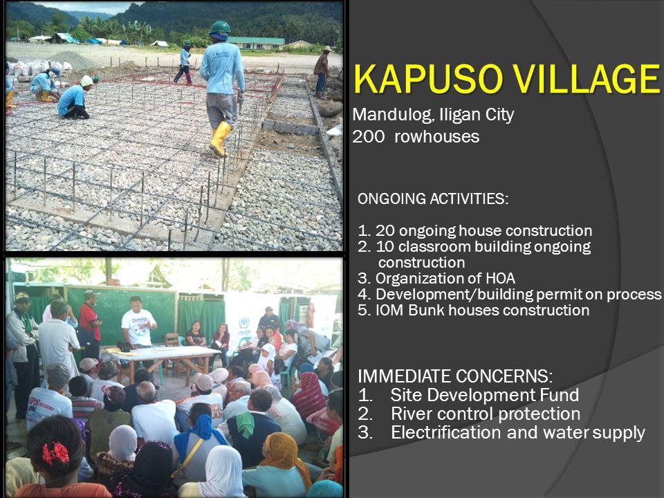 KAPUSO VILLAGE IMMEDIATE CONCERNS: Site Development Fund
