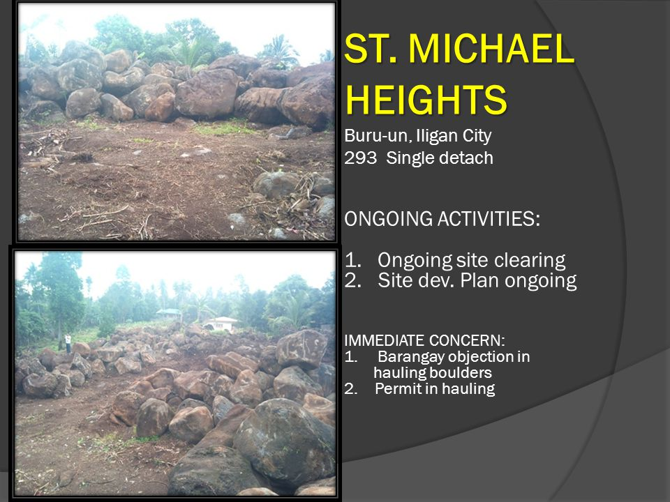 ST. MICHAEL HEIGHTS ONGOING ACTIVITIES: Ongoing site clearing