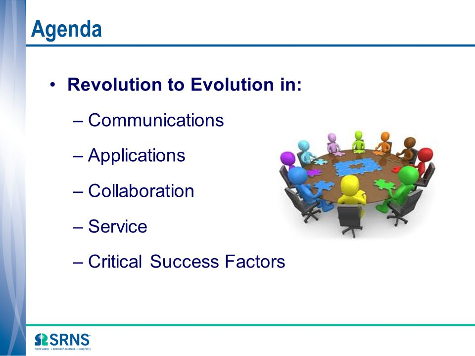 Agenda Revolution to Evolution in: Communications Applications