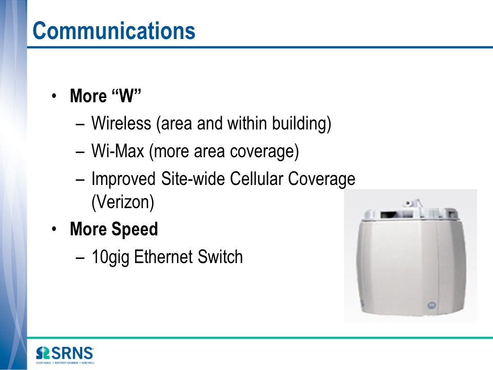Communications More W Wireless (area and within building)