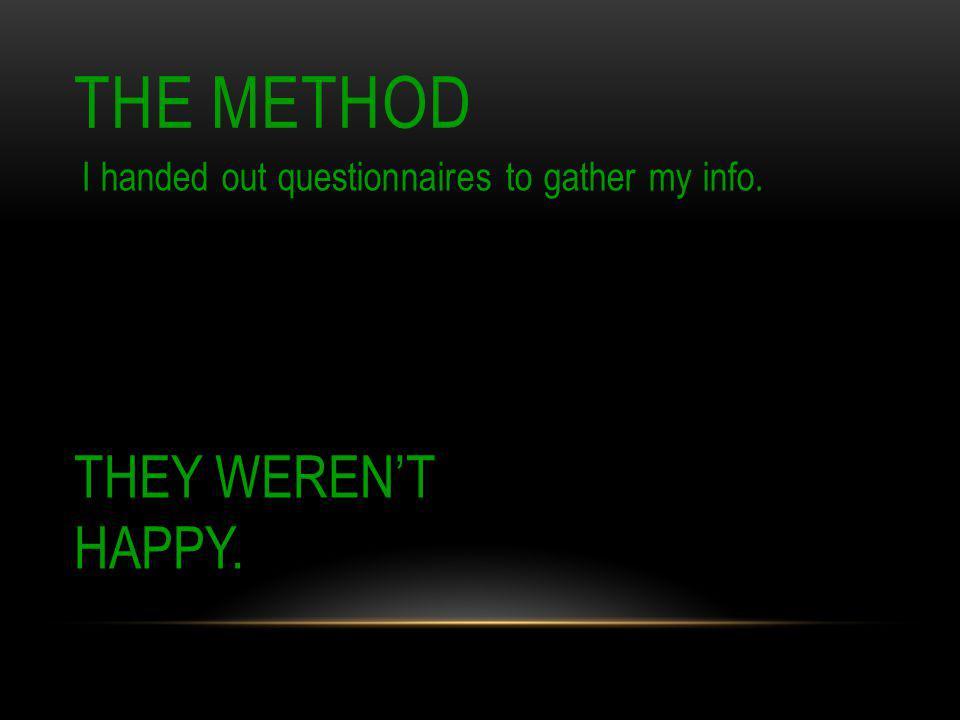 THE METHOD THEY WEREN'T HAPPY.
