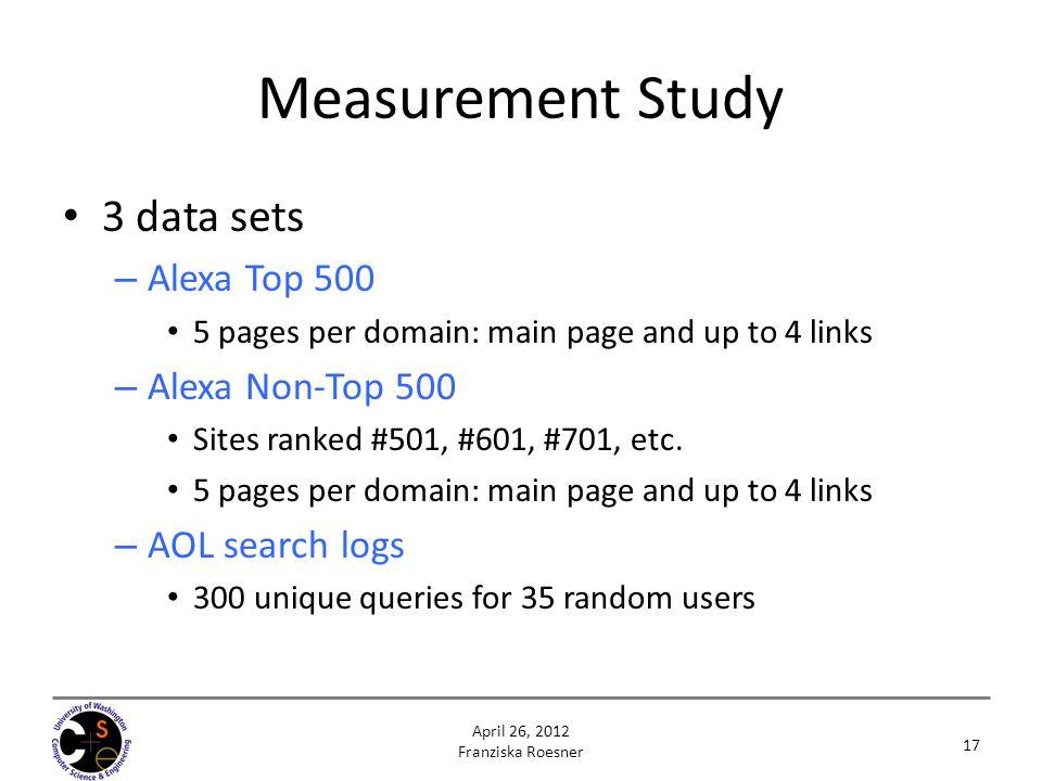 Measurement Study 3 data sets Alexa Top 500 Alexa Non-Top 500