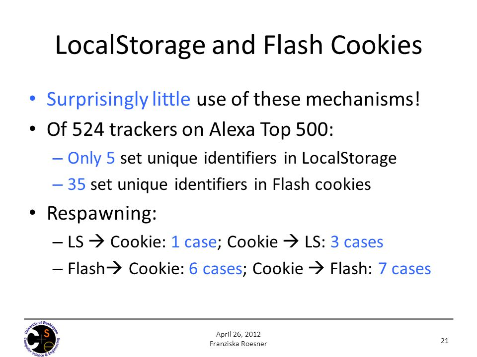 LocalStorage and Flash Cookies