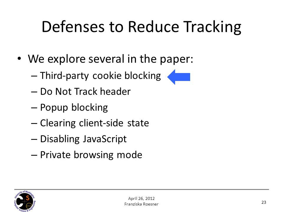 Defenses to Reduce Tracking