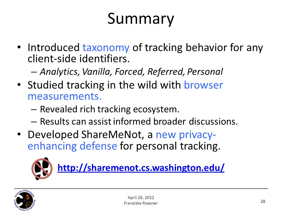 Summary Introduced taxonomy of tracking behavior for any client-side identifiers. Analytics, Vanilla, Forced, Referred, Personal.