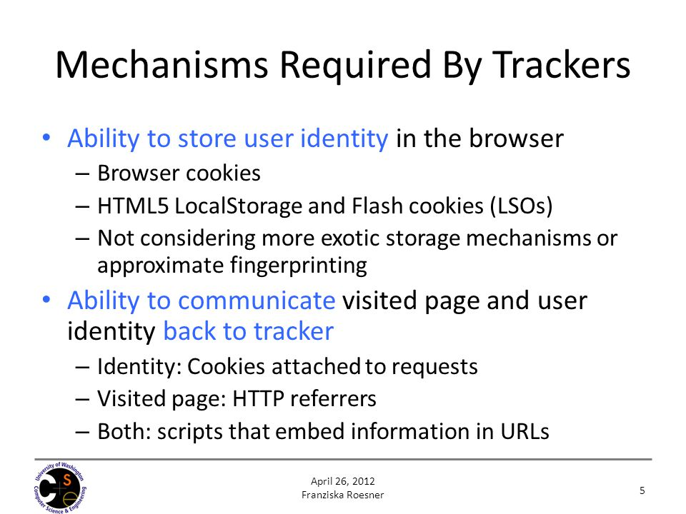 Mechanisms Required By Trackers