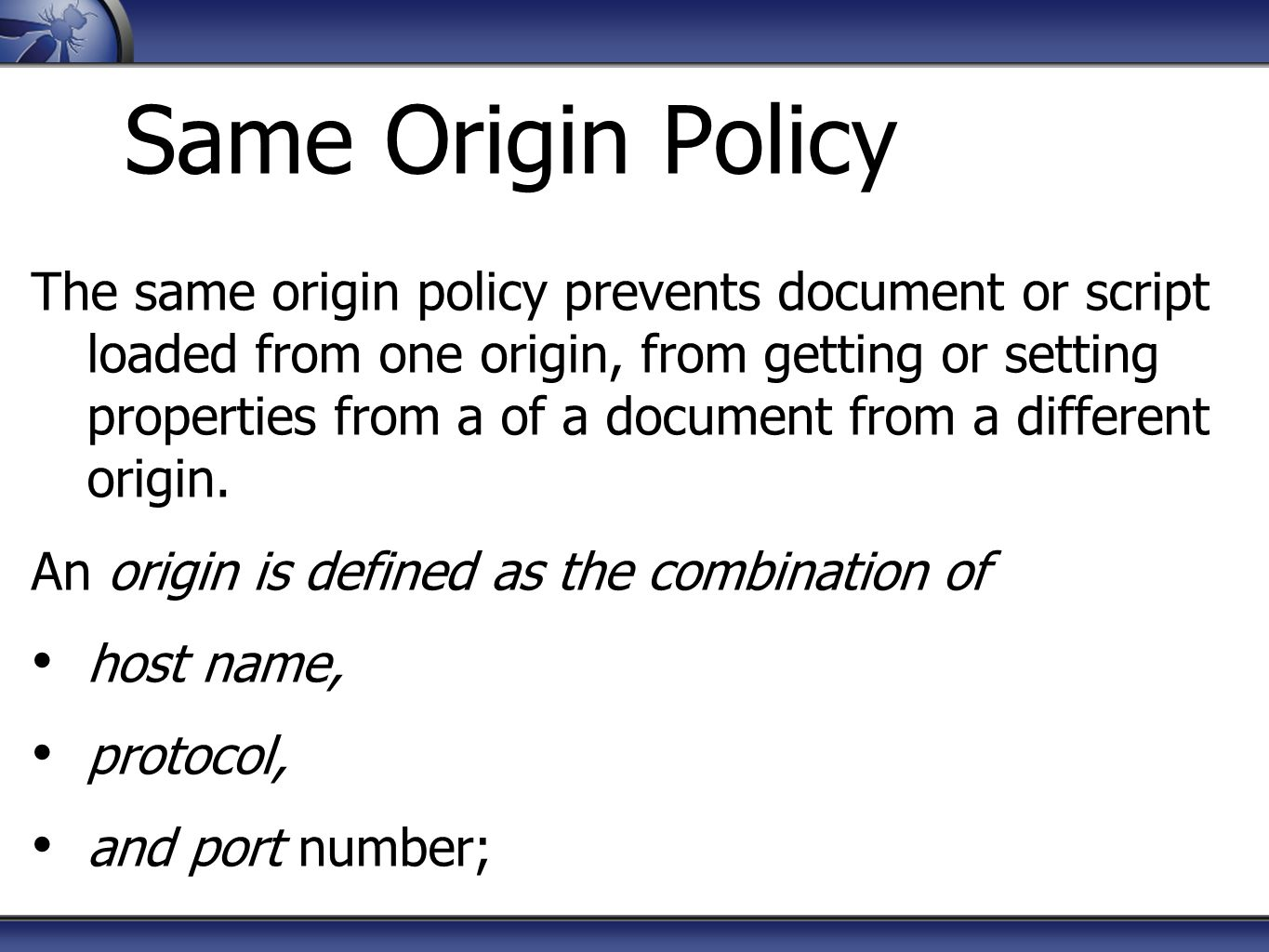 Same Origin Policy