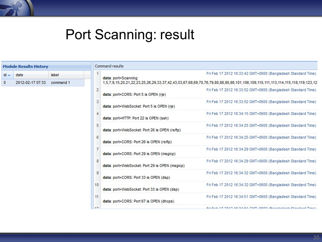 Port Scanning: result