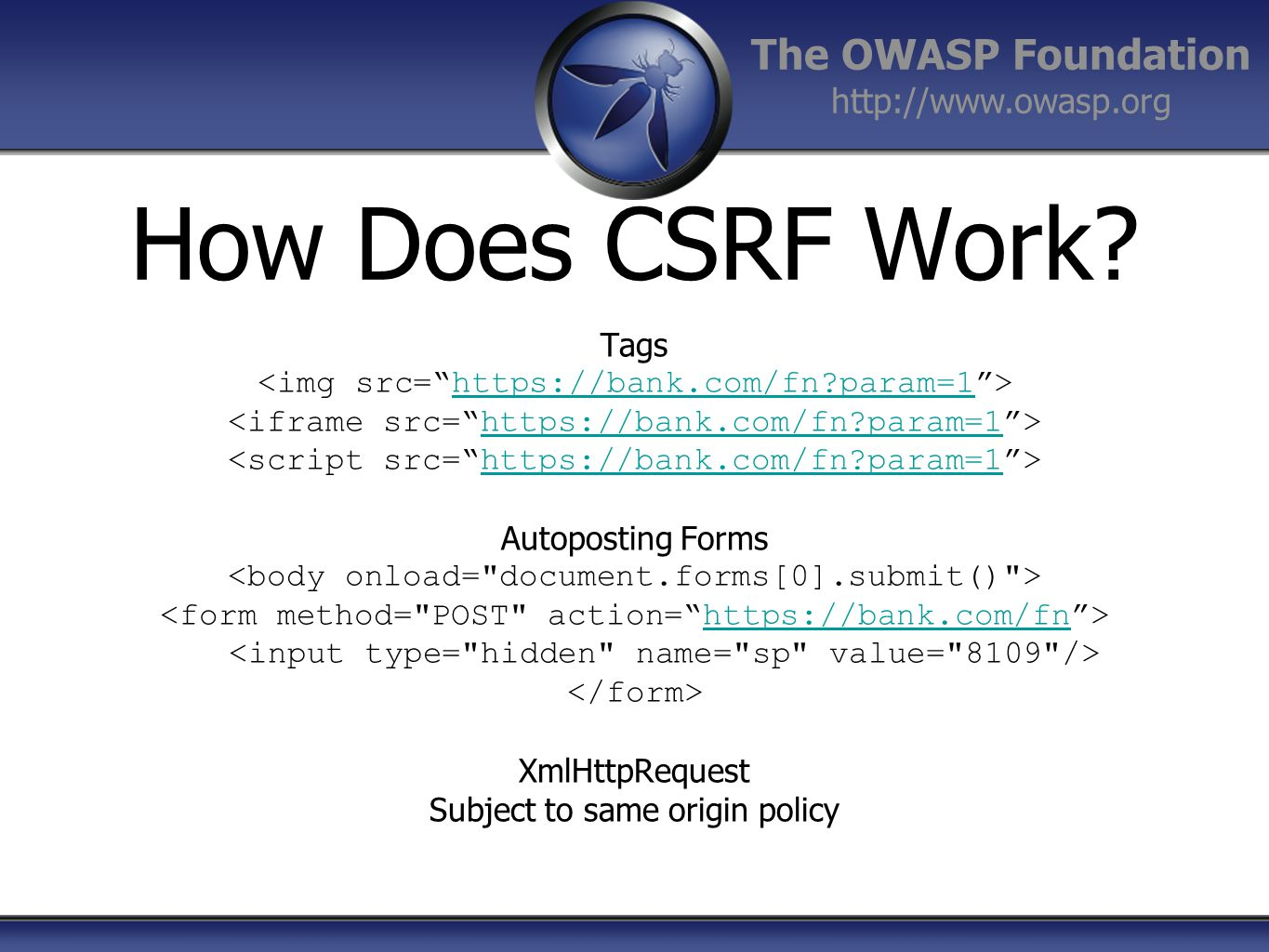 How Does CSRF Work Tags <img src= https://bank.com/fn param=1 >