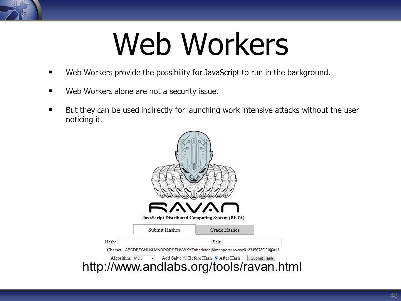 Web Workers http://www.andlabs.org/tools/ravan.html