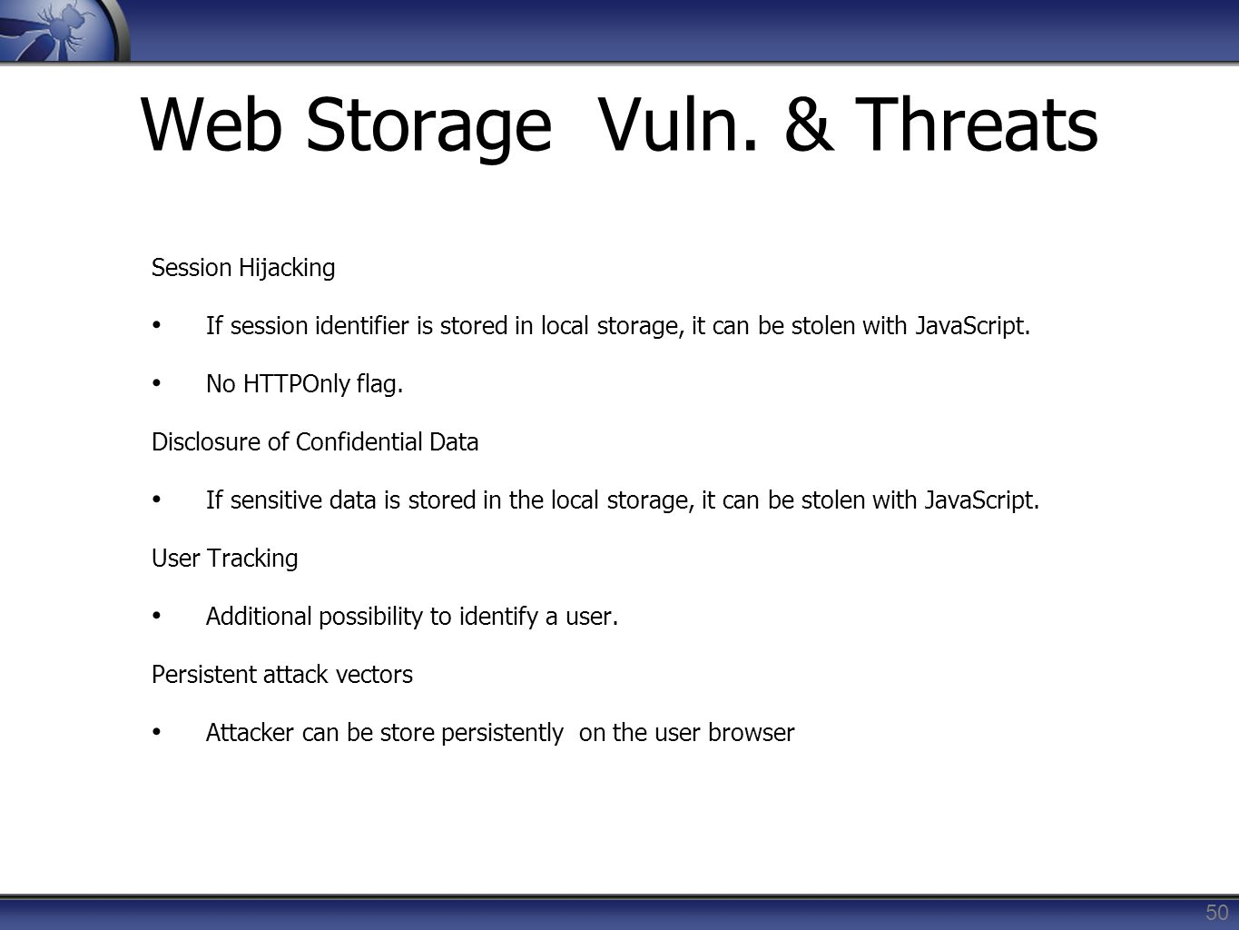 Web Storage Vuln. & Threats