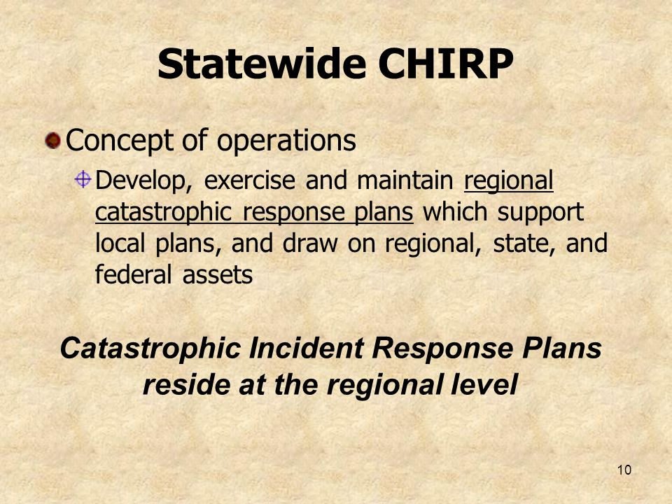 Catastrophic Incident Response Plans reside at the regional level