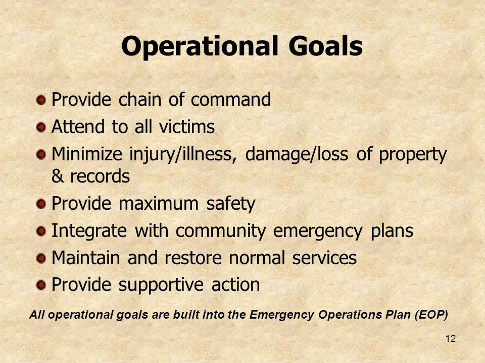Operational Goals Provide chain of command Attend to all victims