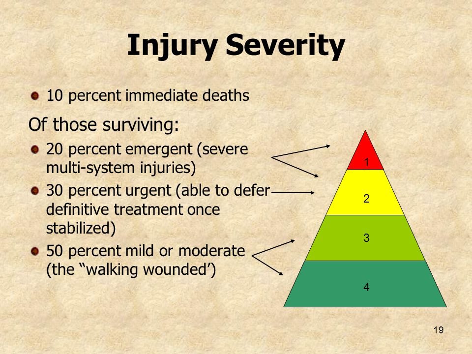Injury Severity Of those surviving: 10 percent immediate deaths