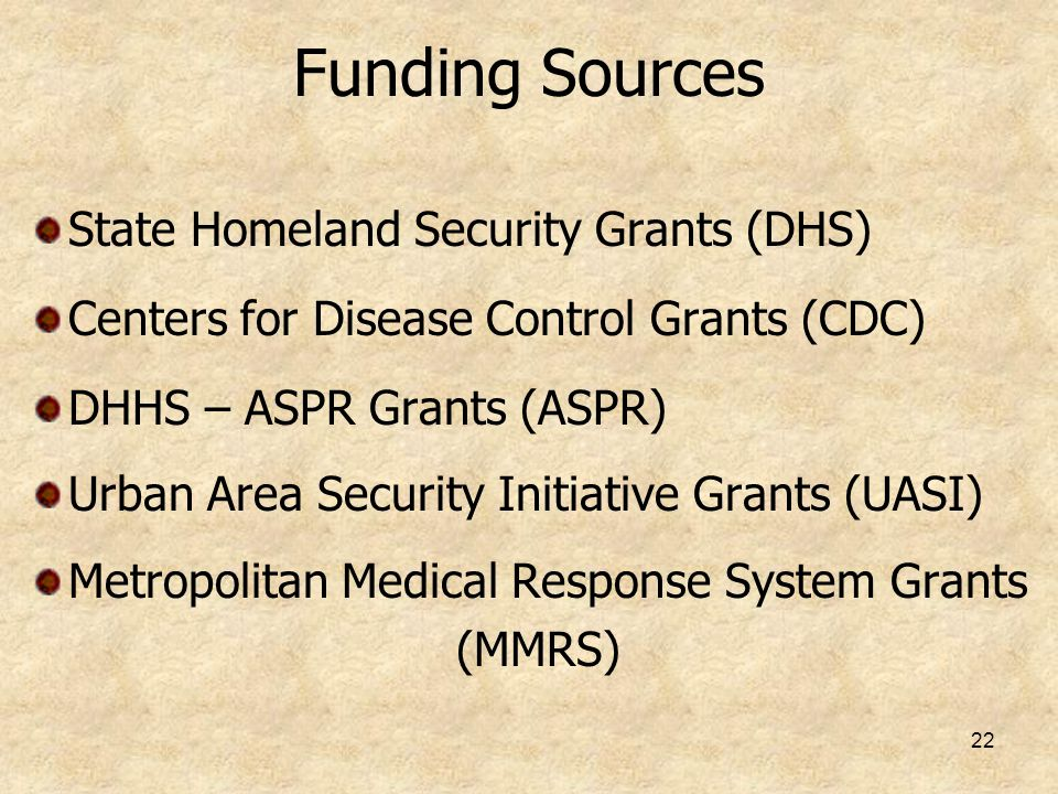 Funding Sources State Homeland Security Grants (DHS)