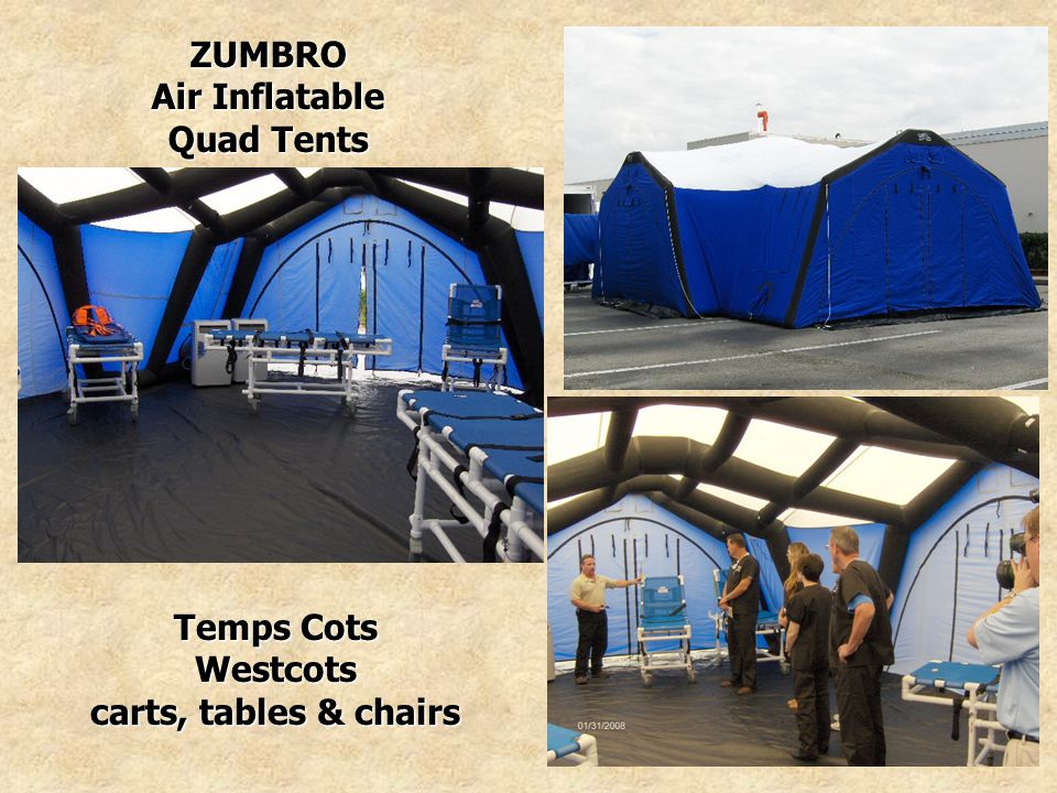 ZUMBRO Air Inflatable Quad Tents Temps Cots Westcots carts, tables & chairs