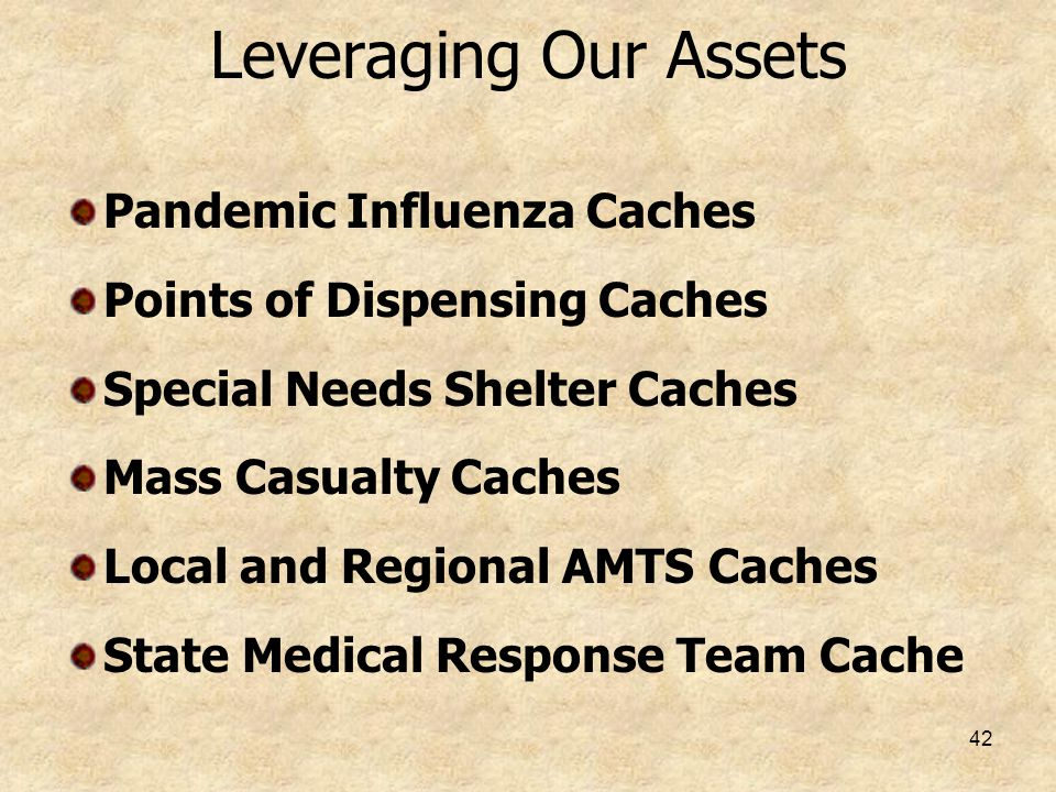 Leveraging Our Assets Pandemic Influenza Caches