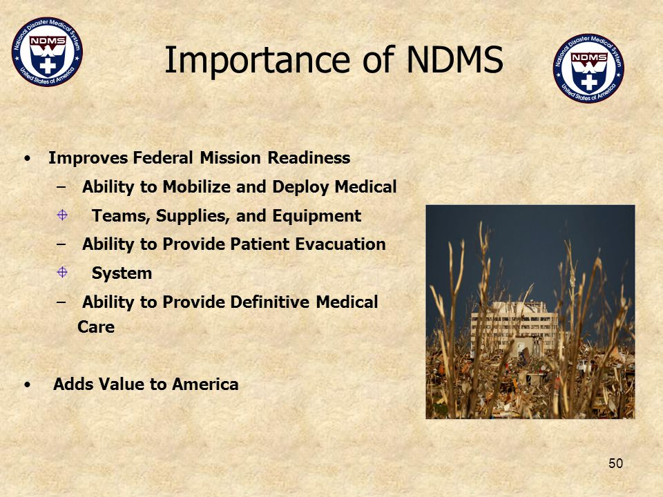 Importance of NDMS Improves Federal Mission Readiness