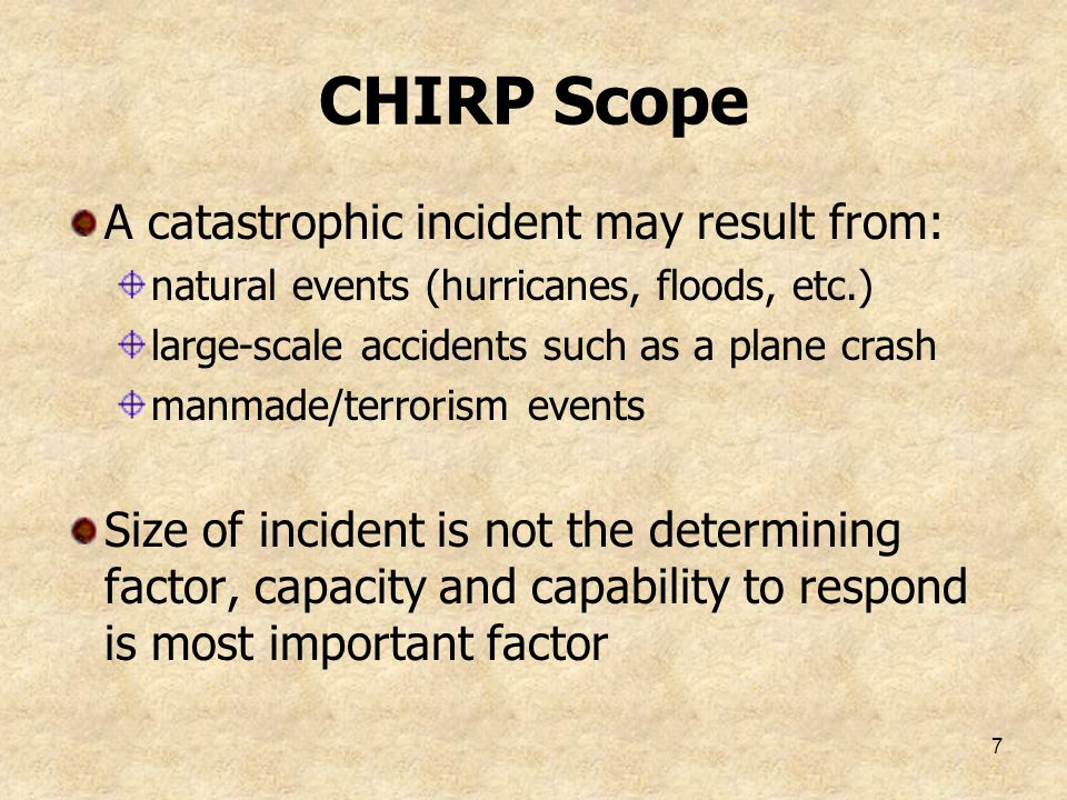 CHIRP Scope A catastrophic incident may result from: