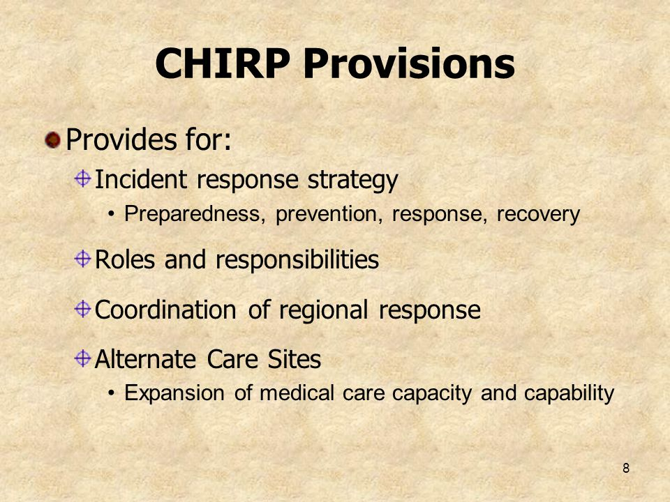 CHIRP Provisions Provides for: Incident response strategy