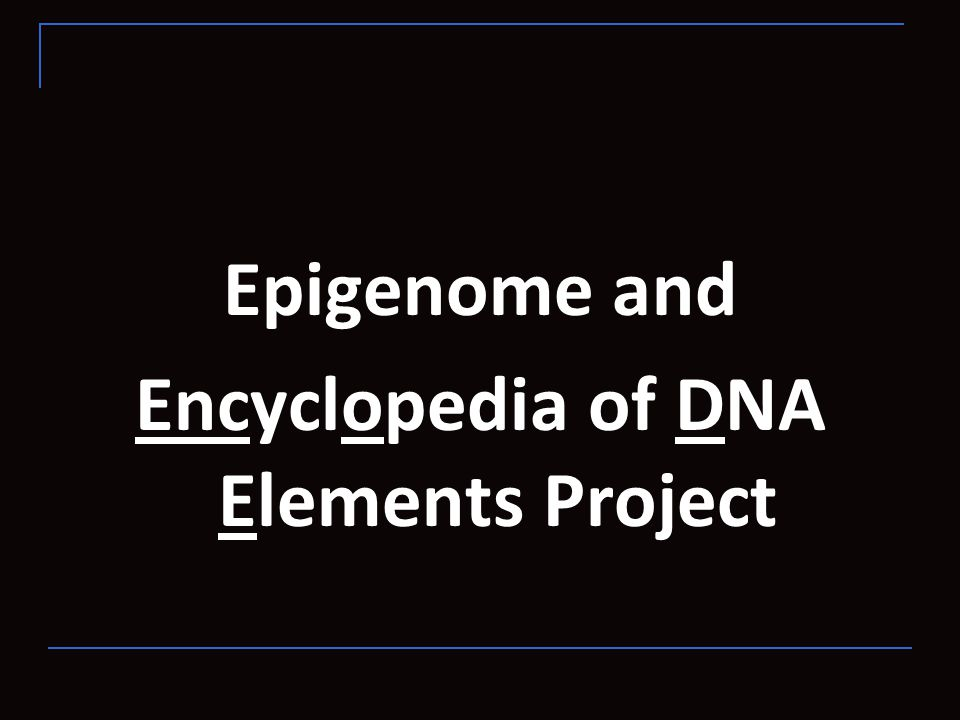 Epigenome and Encyclopedia of DNA Elements Project