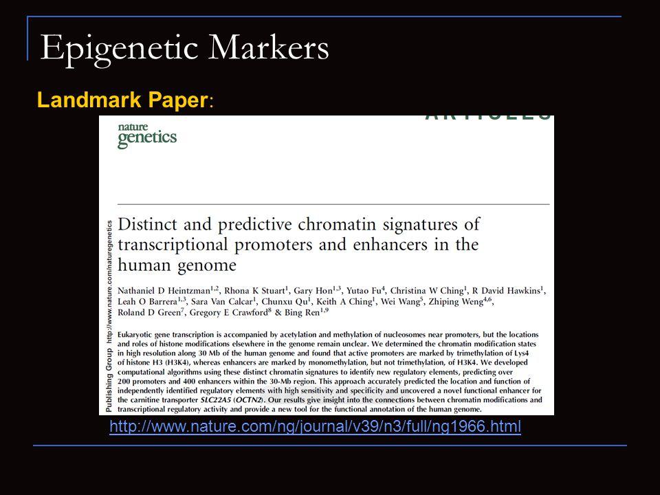 Epigenetic Markers Landmark Paper: