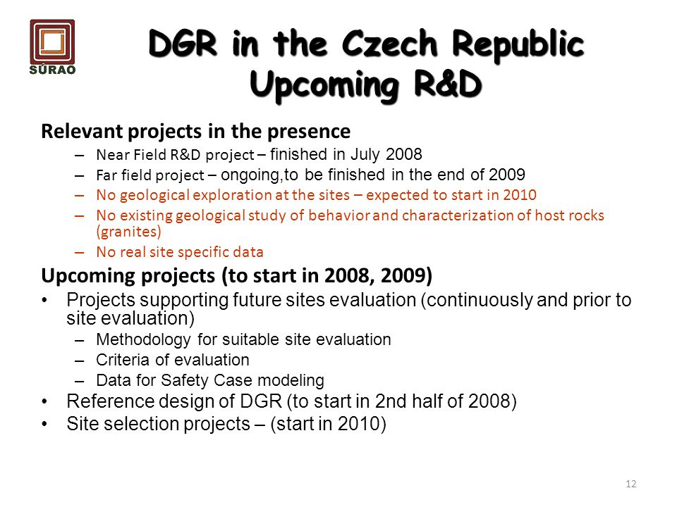 DGR in the Czech Republic Upcoming R&D