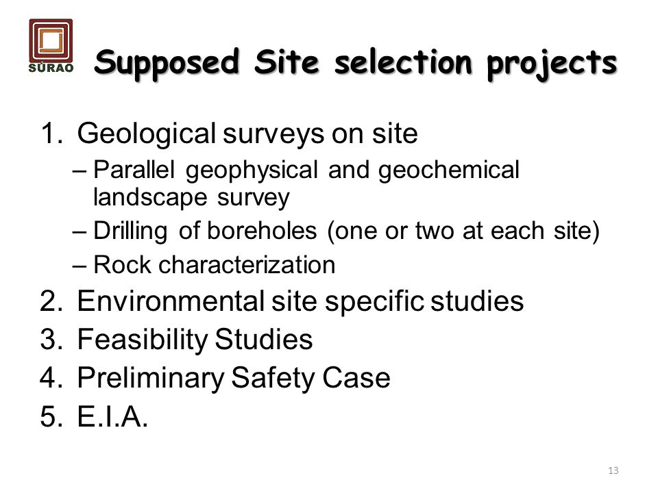 Supposed Site selection projects