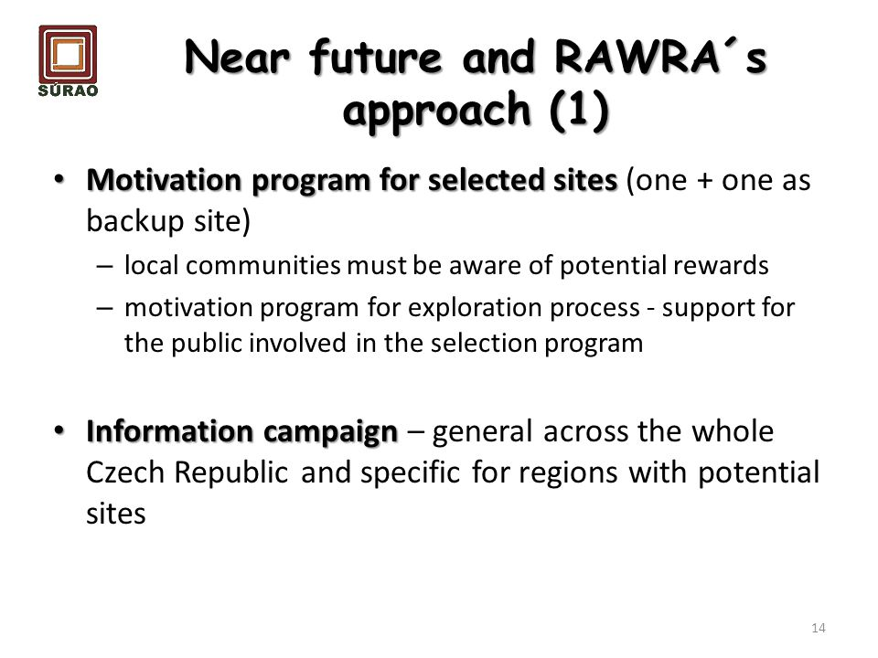 Near future and RAWRA´s approach (1)