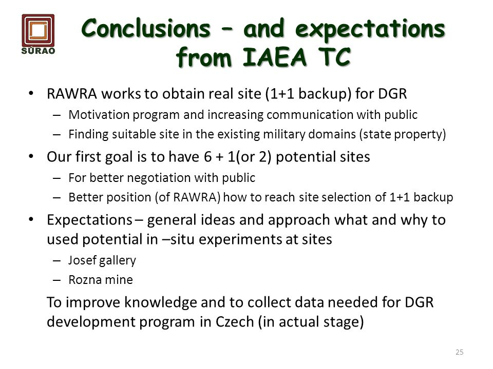 Conclusions – and expectations from IAEA TC