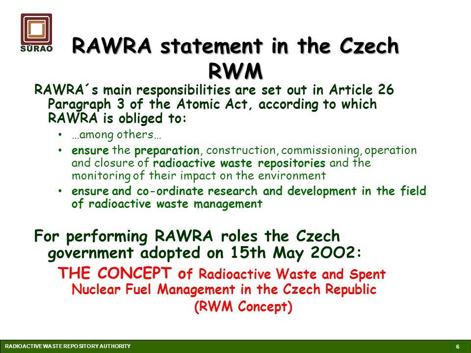 RAWRA statement in the Czech RWM