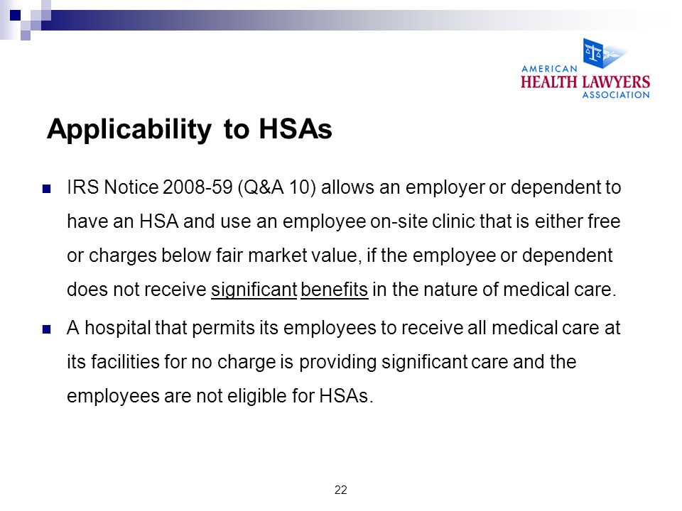 Applicability to HSAs