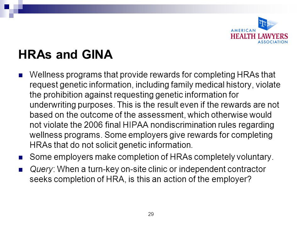 HRAs and GINA