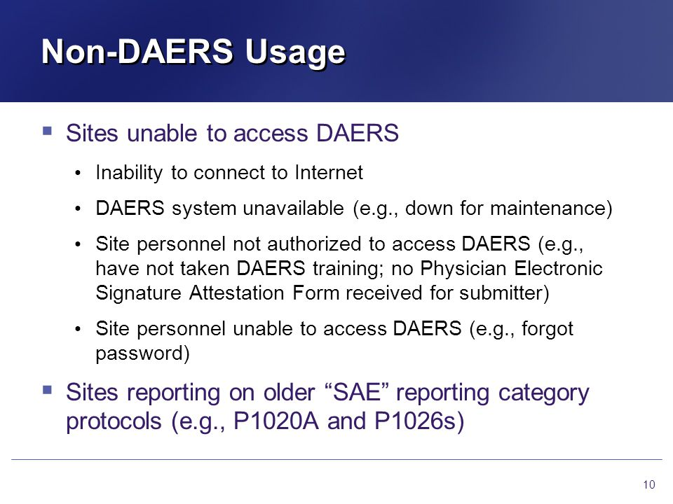 Non-DAERS Usage Sites unable to access DAERS