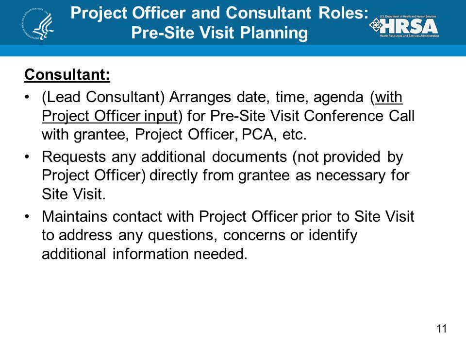 Project Officer and Consultant Roles: Pre-Site Visit Planning