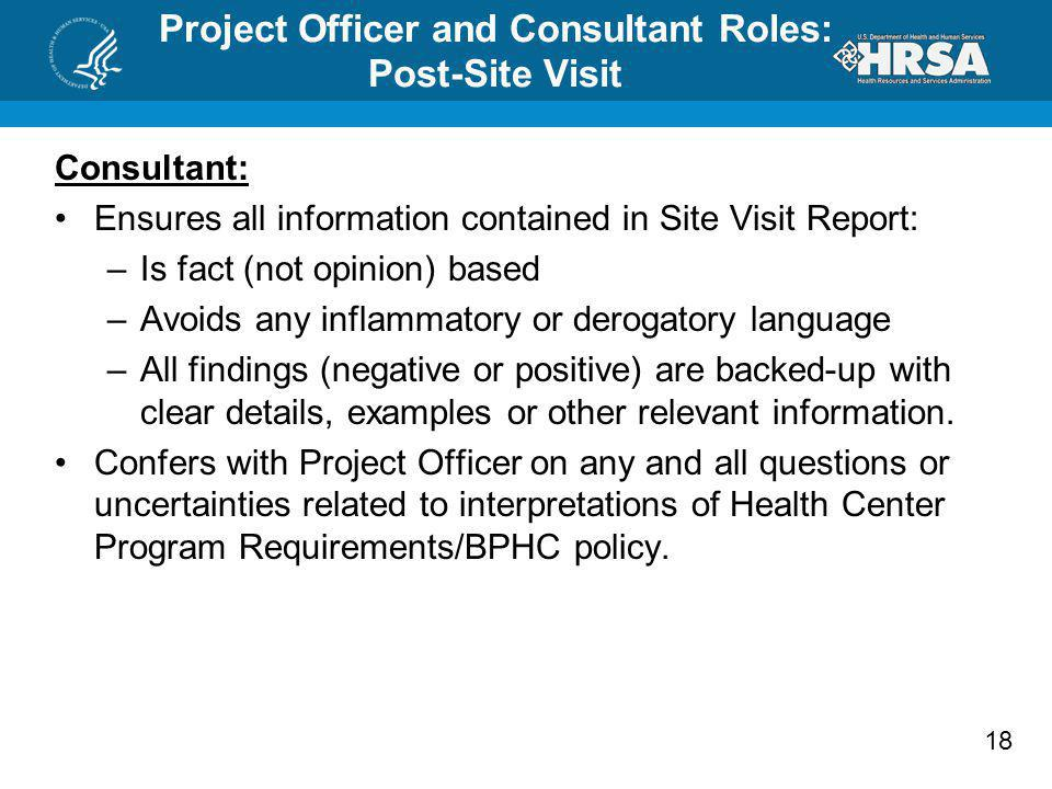 Project Officer and Consultant Roles: Post-Site Visit