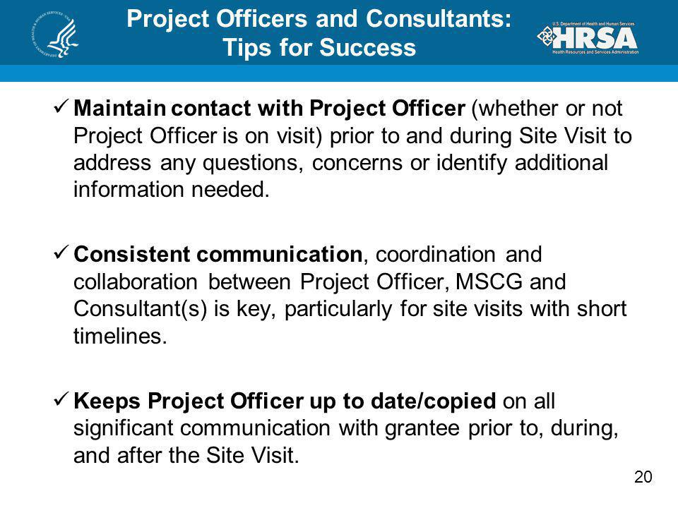Project Officers and Consultants: Tips for Success