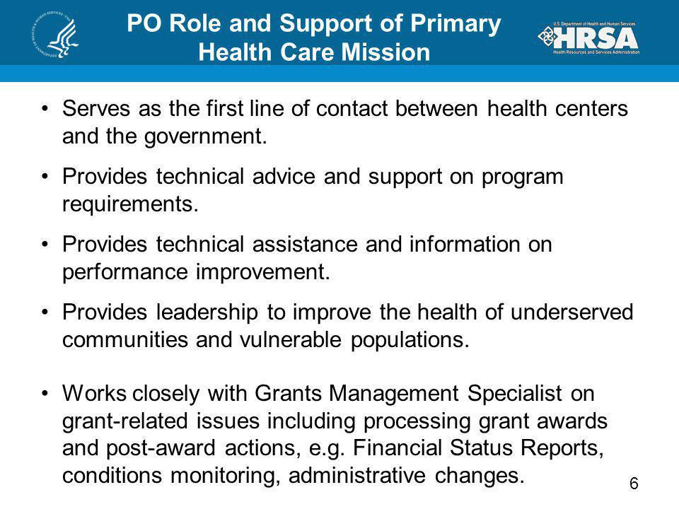 PO Role and Support of Primary Health Care Mission